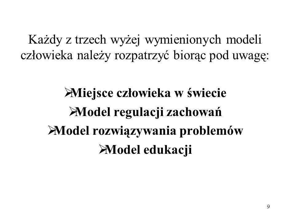 9 Każdy z trzech wyżej wymienionych modeli człowieka należy rozpatrzyć biorąc pod uwagę: Miejsce człowieka w świecie Model regulacji zachowań Model ro