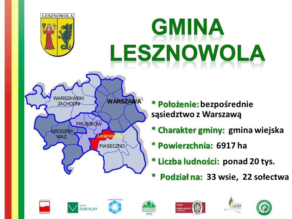*Położenie: * Położenie: bezpośrednie sąsiedztwo z Warszawą *Charakter gminy: * Charakter gminy: gmina wiejska Powierzchnia: * Powierzchnia: 6917 ha * Liczba ludności: * Liczba ludności: ponad 20 tys.