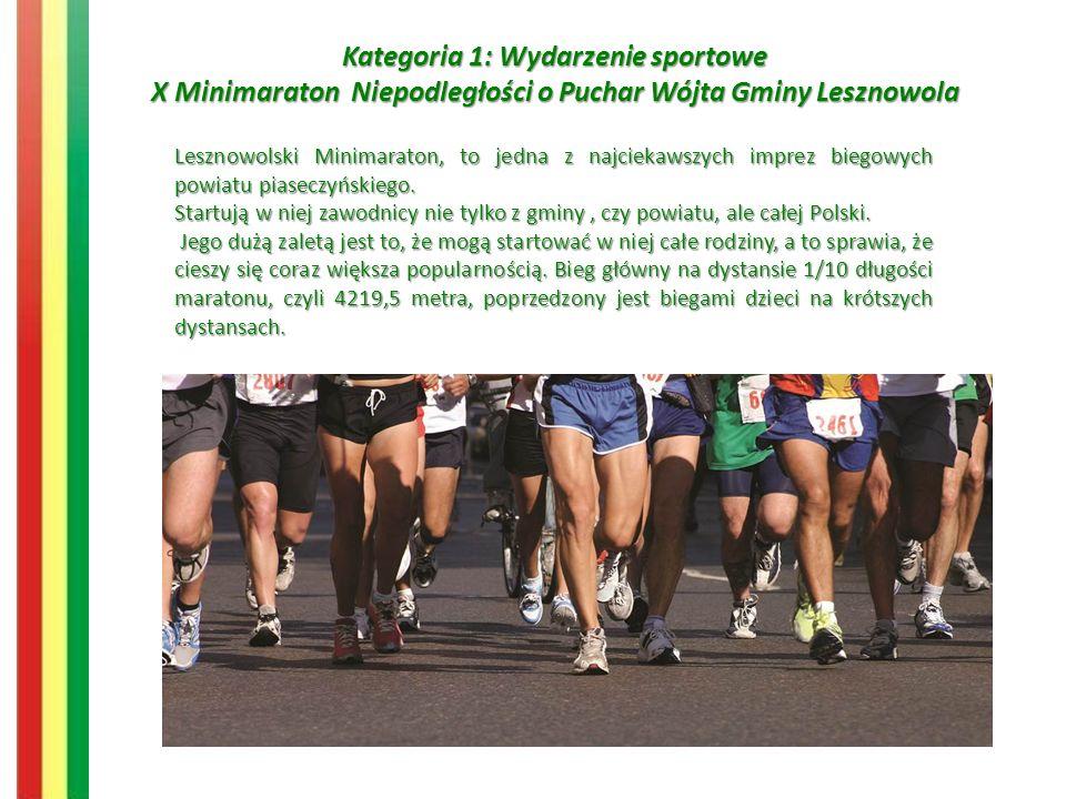 Kategoria 1: Wydarzenie sportowe X Minimaraton Niepodległości o Puchar Wójta Gminy Lesznowola Lesznowolski Minimaraton, to jedna z najciekawszych imprez biegowych powiatu piaseczyńskiego.