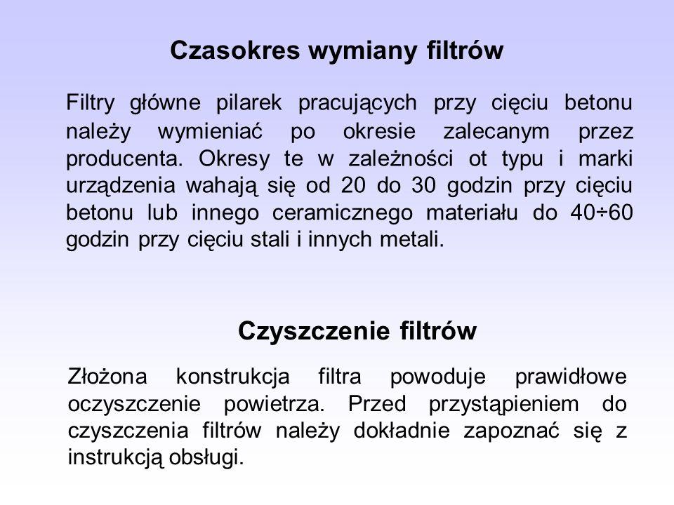 Czasokres wymiany filtrów Filtry główne pilarek pracujących przy cięciu betonu należy wymieniać po okresie zalecanym przez producenta. Okresy te w zal