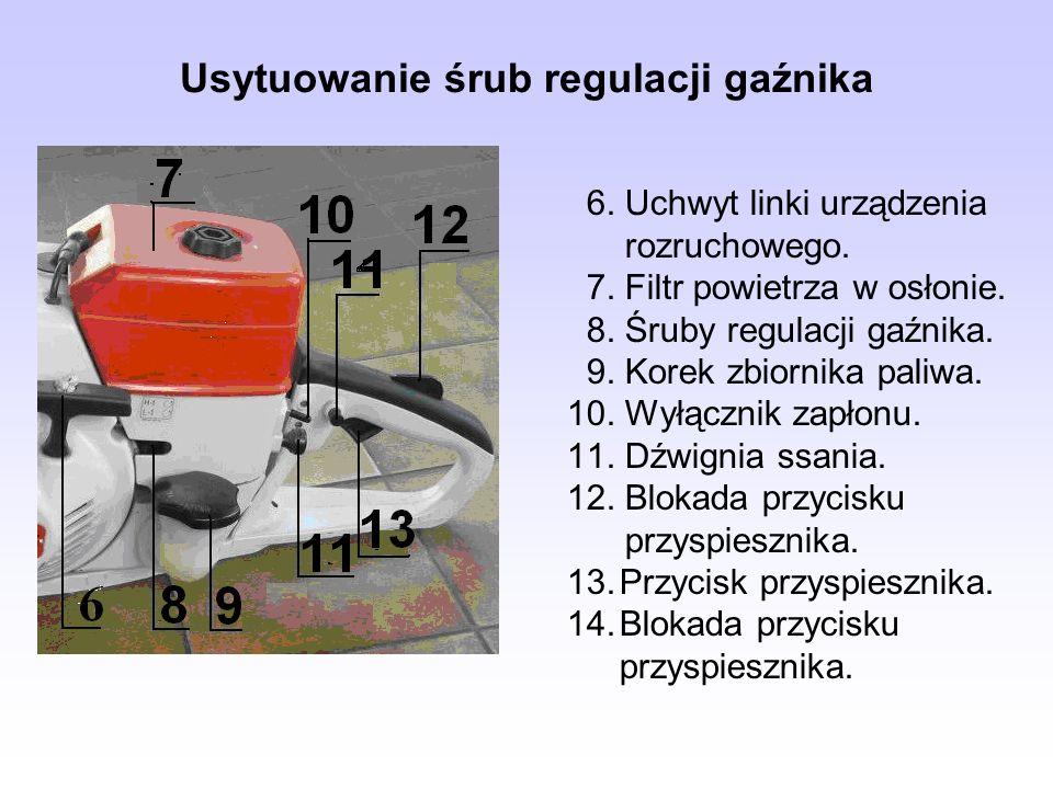 Usytuowanie śrub regulacji gaźnika 6. Uchwyt linki urządzenia rozruchowego. 7. Filtr powietrza w osłonie. 8. Śruby regulacji gaźnika. 9. Korek zbiorni