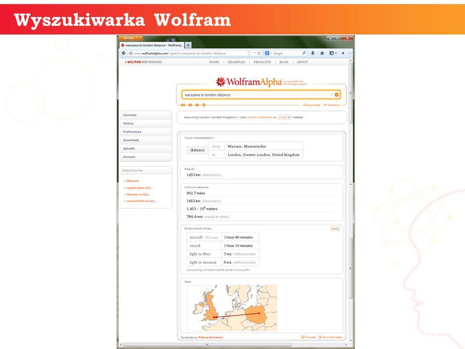 Wyszukiwarka Wolfram informatyka + 10