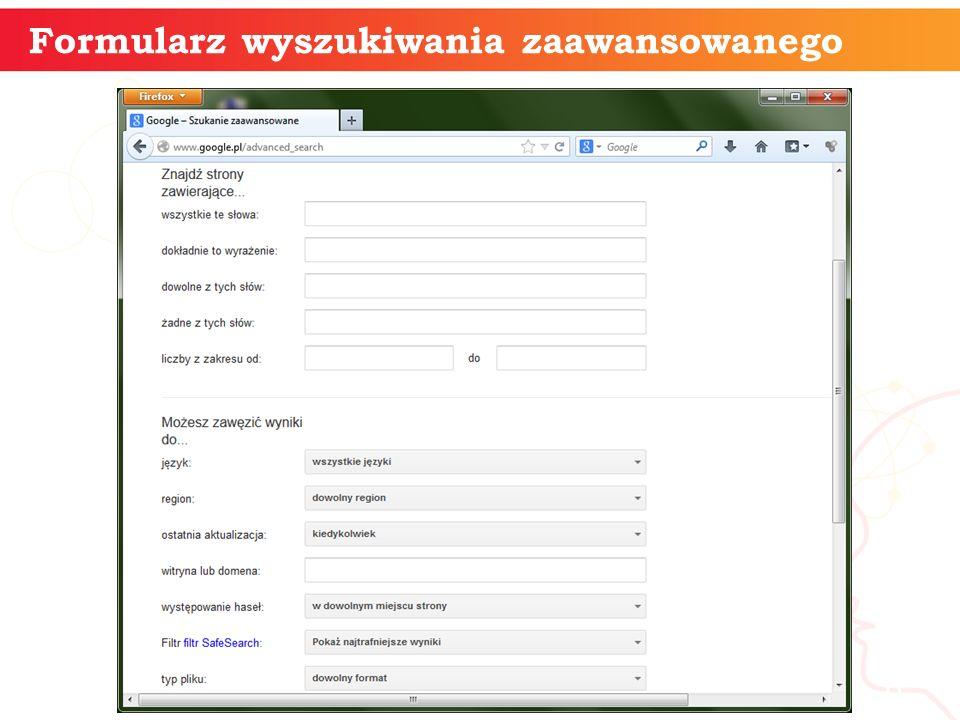 Formularz wyszukiwania zaawansowanego informatyka + 6