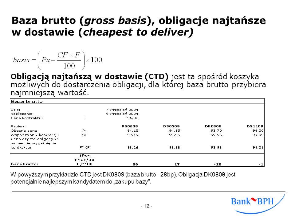 - 12 - Baza brutto (gross basis), obligacje najtańsze w dostawie (cheapest to deliver) Obligacją najtańszą w dostawie (CTD) jest ta spośród koszyka mo