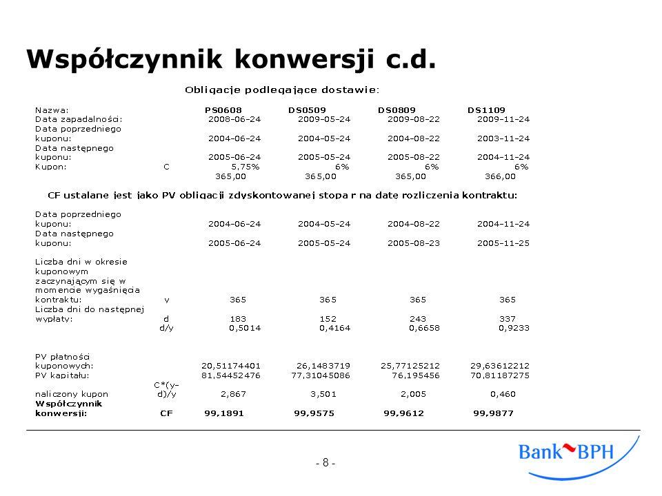 - 9 - Wartość teoretyczna kontraktu Cena kontraktu futures powinna, po uwzględnieniu CF, odpowiadać cenie terminowej obligacji możliwej do dostarczenia.