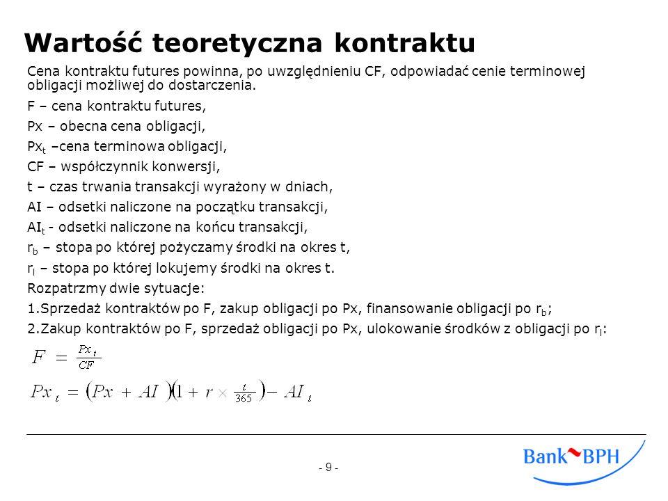 - 10 - Wartość teoretyczna kontraktu c.d.