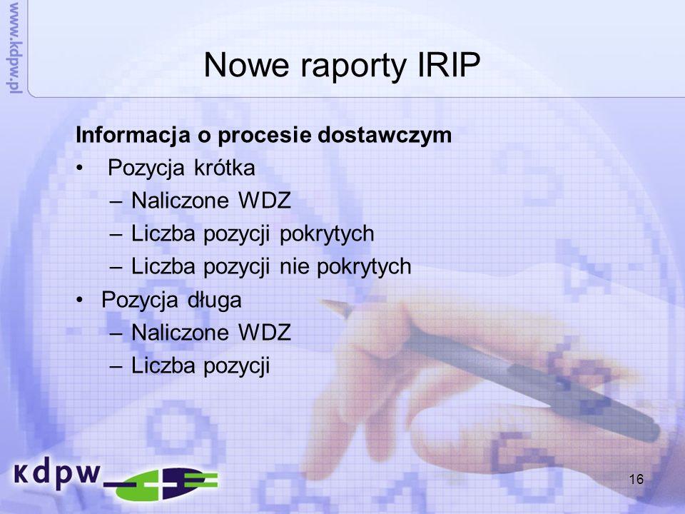 16 Nowe raporty IRIP Informacja o procesie dostawczym Pozycja krótka –Naliczone WDZ –Liczba pozycji pokrytych –Liczba pozycji nie pokrytych Pozycja dł