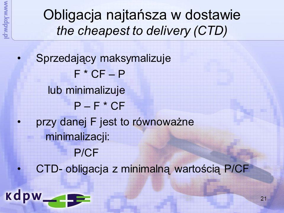 21 Obligacja najtańsza w dostawie the cheapest to delivery (CTD) Sprzedający maksymalizuje F * CF – P lub minimalizuje P – F * CF przy danej F jest to