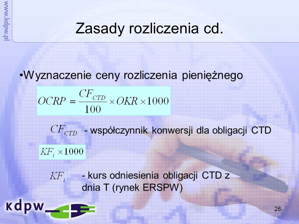 26 Zasady rozliczenia cd. - współczynnik konwersji dla obligacji CTD Wyznaczenie ceny rozliczenia pieniężnego - kurs odniesienia obligacji CTD z dnia