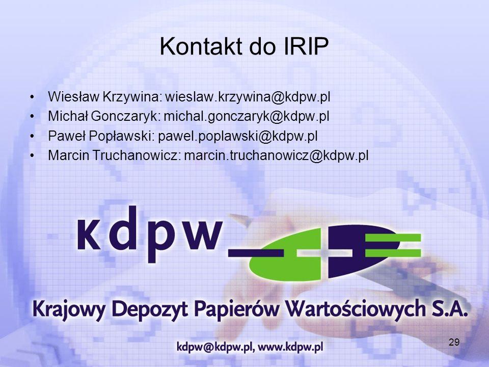 29 Kontakt do IRIP Wiesław Krzywina: wieslaw.krzywina@kdpw.pl Michał Gonczaryk: michal.gonczaryk@kdpw.pl Paweł Popławski: pawel.poplawski@kdpw.pl Marc