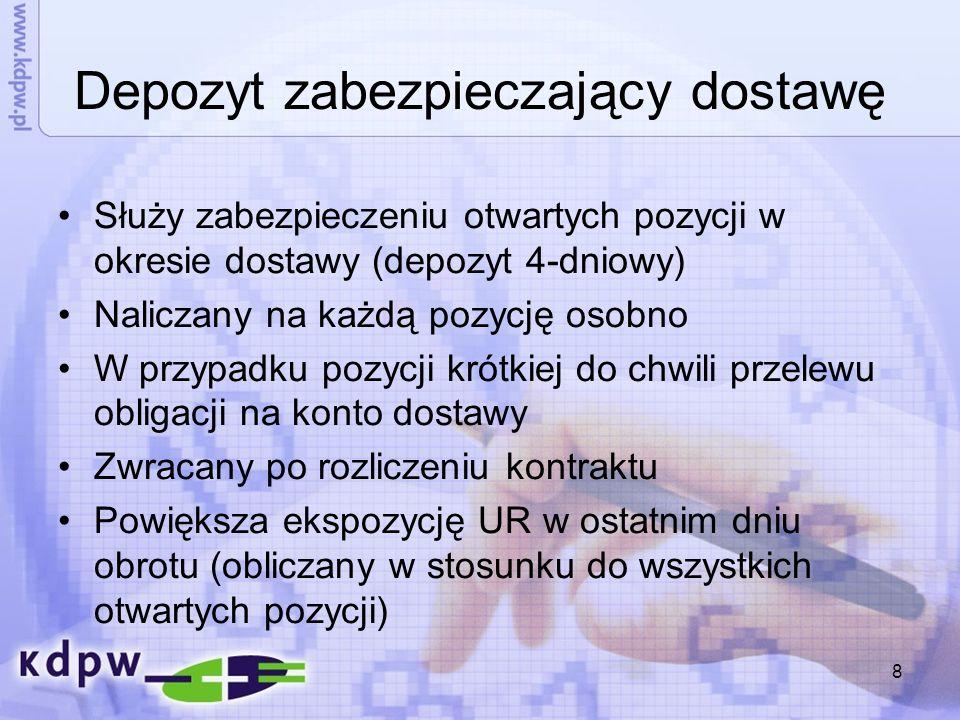 9 Przykład obliczania depozytu zabezpieczającego dostawę DZD = kurs * mnożnik * poziom DZ% * 101,07 PLN * 1.000 * 2% * = 4.043 PLN