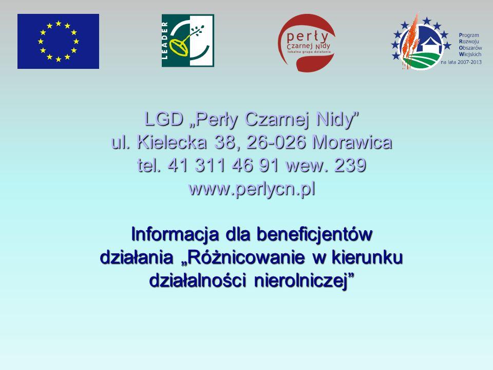 LGD Perły Czarnej Nidy ul. Kielecka 38, 26-026 Morawica tel. 41 311 46 91 wew. 239 www.perlycn.pl Informacja dla beneficjentów działania Różnicowanie