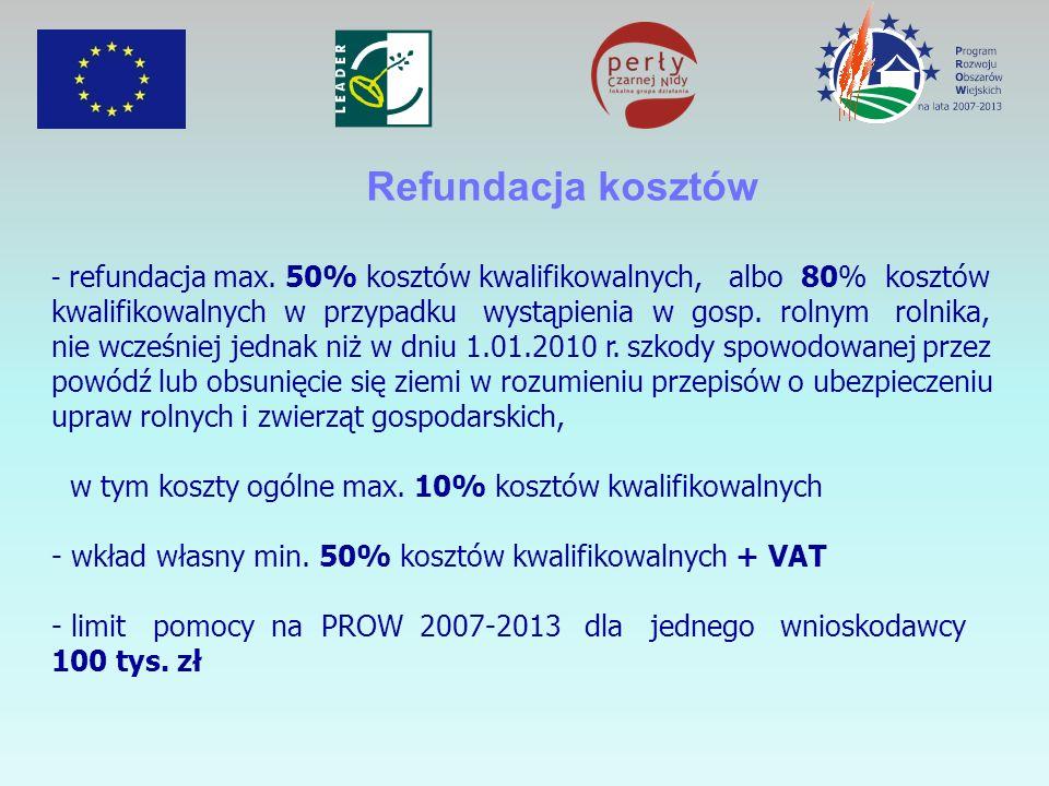 Refundacja kosztów - refundacja max. 50% kosztów kwalifikowalnych, albo 80% kosztów kwalifikowalnych w przypadku wystąpienia w gosp. rolnym rolnika, n