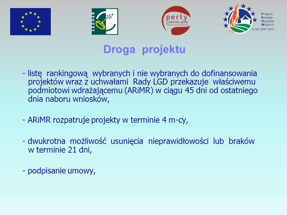 Droga projektu - listę rankingową wybranych i nie wybranych do dofinansowania projektów wraz z uchwałami Rady LGD przekazuje właściwemu podmiotowi wdr