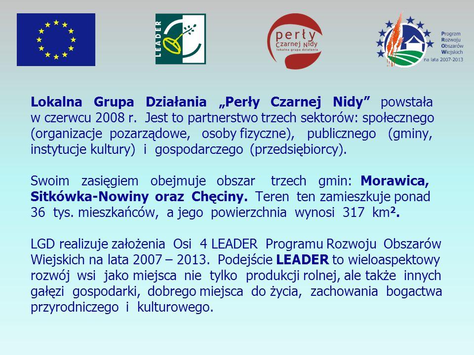 Lokalna Grupa Działania Perły Czarnej Nidy powstała w czerwcu 2008 r. Jest to partnerstwo trzech sektorów: społecznego (organizacje pozarządowe, osoby