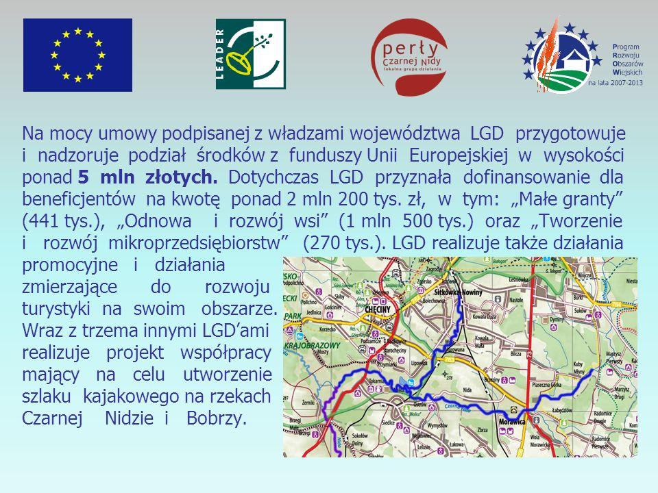 Na mocy umowy podpisanej z władzami województwa LGD przygotowuje i nadzoruje podział środków z funduszy Unii Europejskiej w wysokości ponad 5 mln złotych.