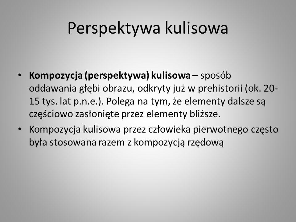 Perspektywa kulisowa Kompozycja (perspektywa) kulisowa – sposób oddawania głębi obrazu, odkryty już w prehistorii (ok.
