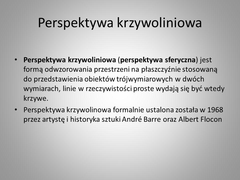 Perspektywa krzywoliniowa Perspektywa krzywoliniowa (perspektywa sferyczna) jest formą odwzorowania przestrzeni na płaszczyźnie stosowaną do przedstaw
