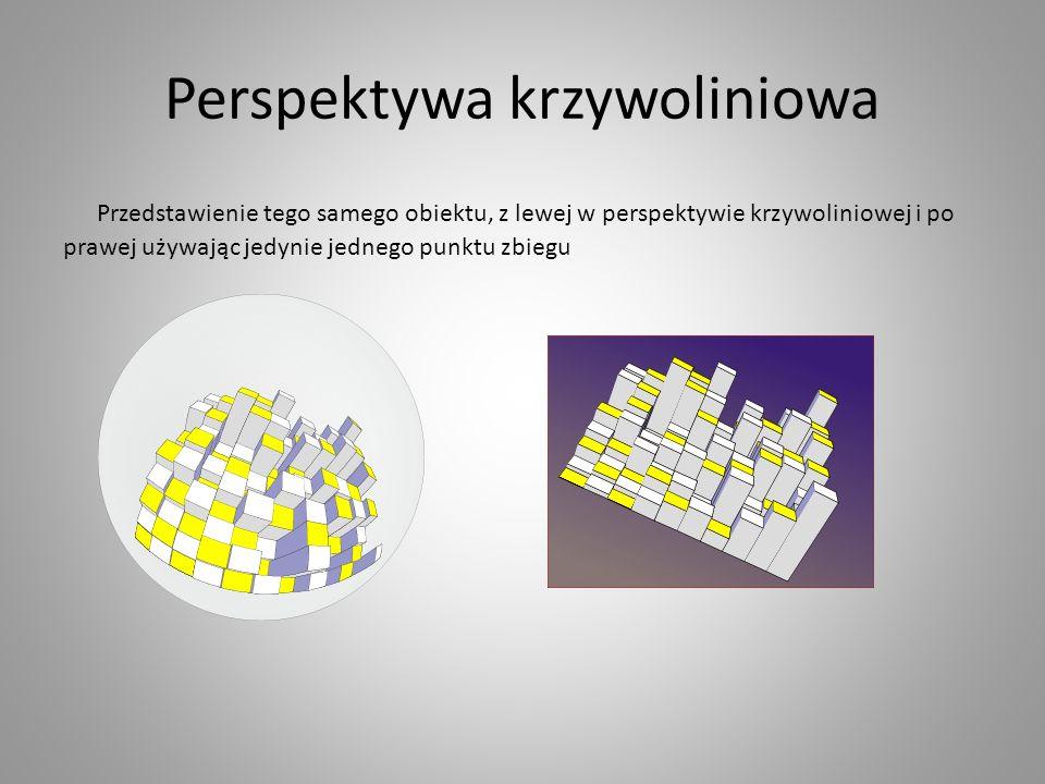 Perspektywa krzywoliniowa Przedstawienie tego samego obiektu, z lewej w perspektywie krzywoliniowej i po prawej używając jedynie jednego punktu zbiegu