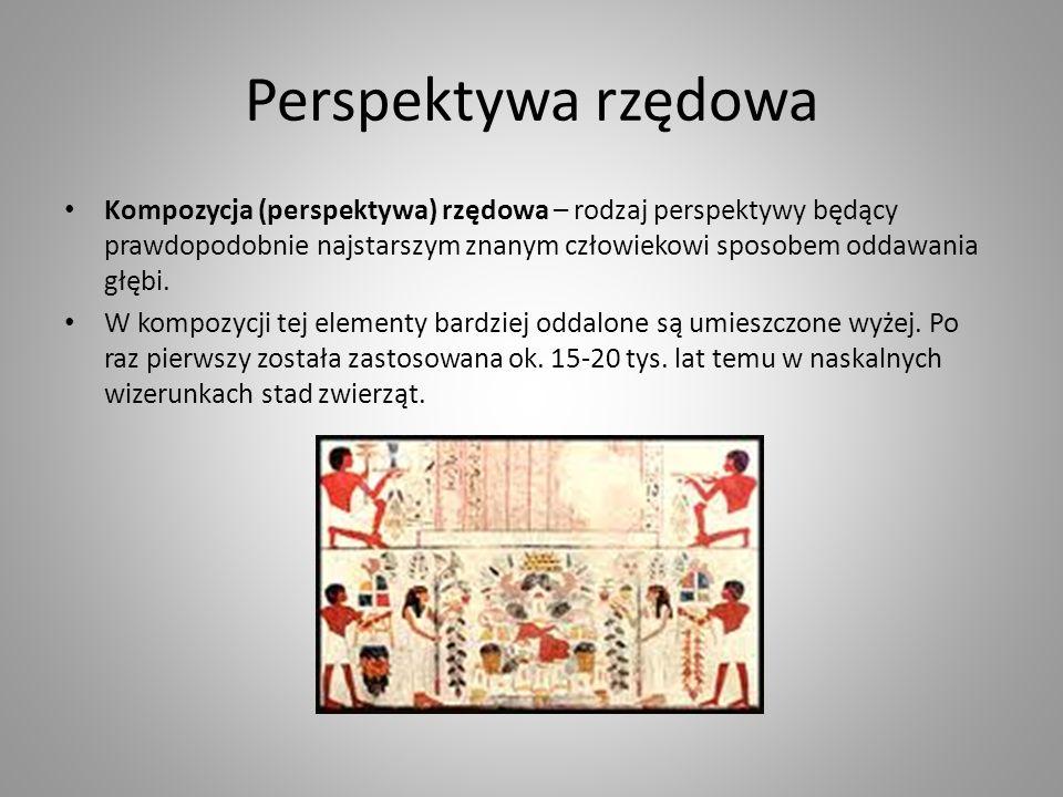 Perspektywa rzędowa Kompozycja (perspektywa) rzędowa – rodzaj perspektywy będący prawdopodobnie najstarszym znanym człowiekowi sposobem oddawania głębi.
