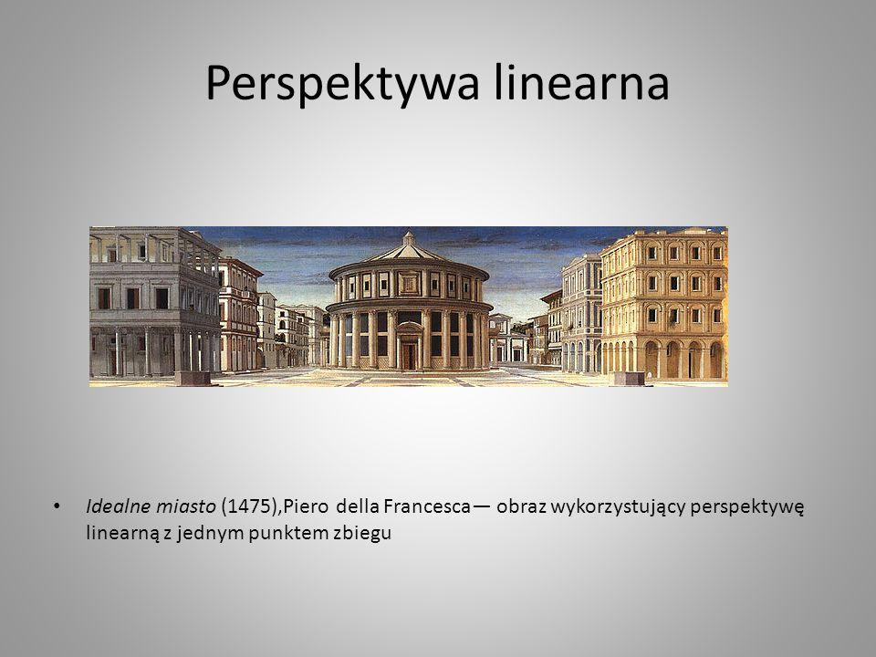 Perspektywa linearna Idealne miasto (1475),Piero della Francesca obraz wykorzystujący perspektywę linearną z jednym punktem zbiegu