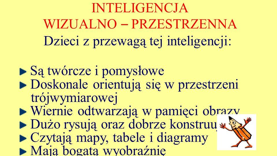 INTELIGENCJA WIZUALNO – PRZESTRZENNA Dzieci z przewagą tej inteligencji: Są twórcze i pomysłowe Doskonale orientują się w przestrzeni trójwymiarowej W