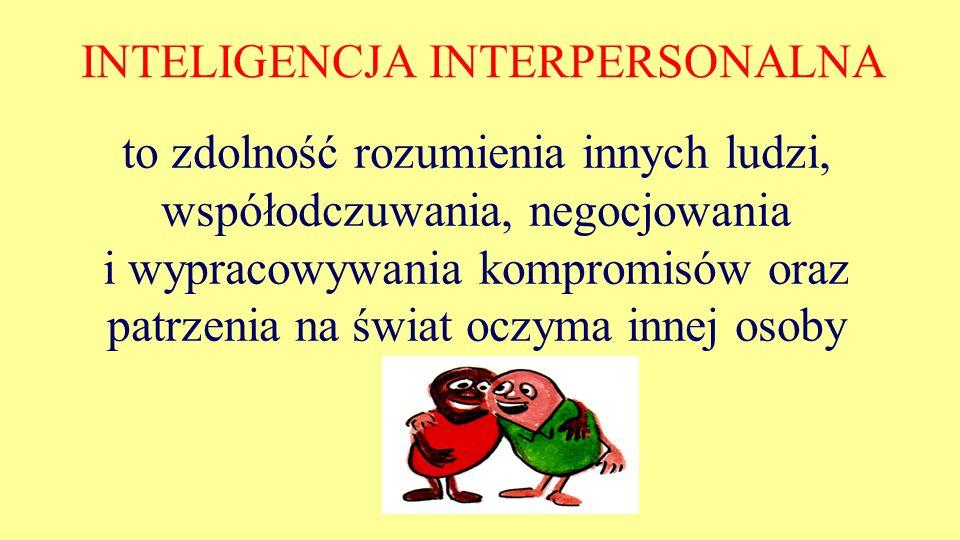 INTELIGENCJA INTERPERSONALNA to zdolność rozumienia innych ludzi, współodczuwania, negocjowania i wypracowywania kompromisów oraz patrzenia na świat o
