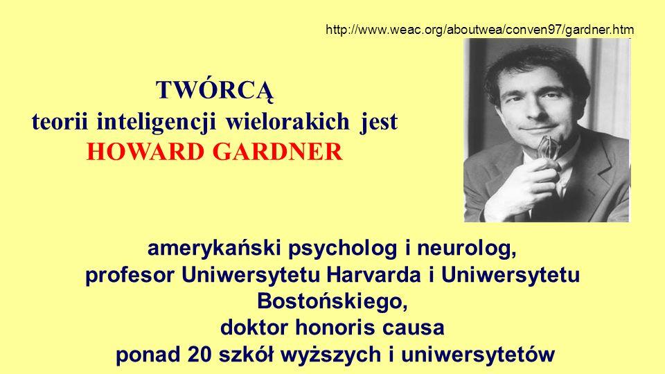 TWÓRCĄ teorii inteligencji wielorakich jest HOWARD GARDNER amerykański psycholog i neurolog, profesor Uniwersytetu Harvarda i Uniwersytetu Bostońskieg
