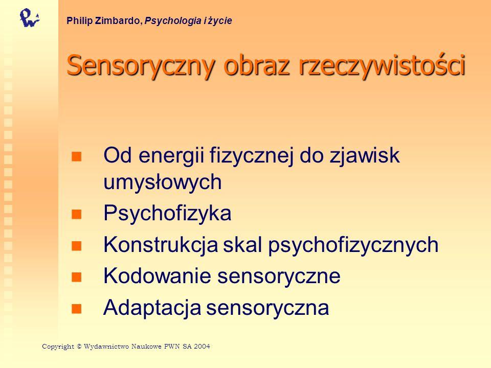 Sensoryczny obraz rzeczywistości Od energii fizycznej do zjawisk umysłowych Psychofizyka Konstrukcja skal psychofizycznych Kodowanie sensoryczne Adapt