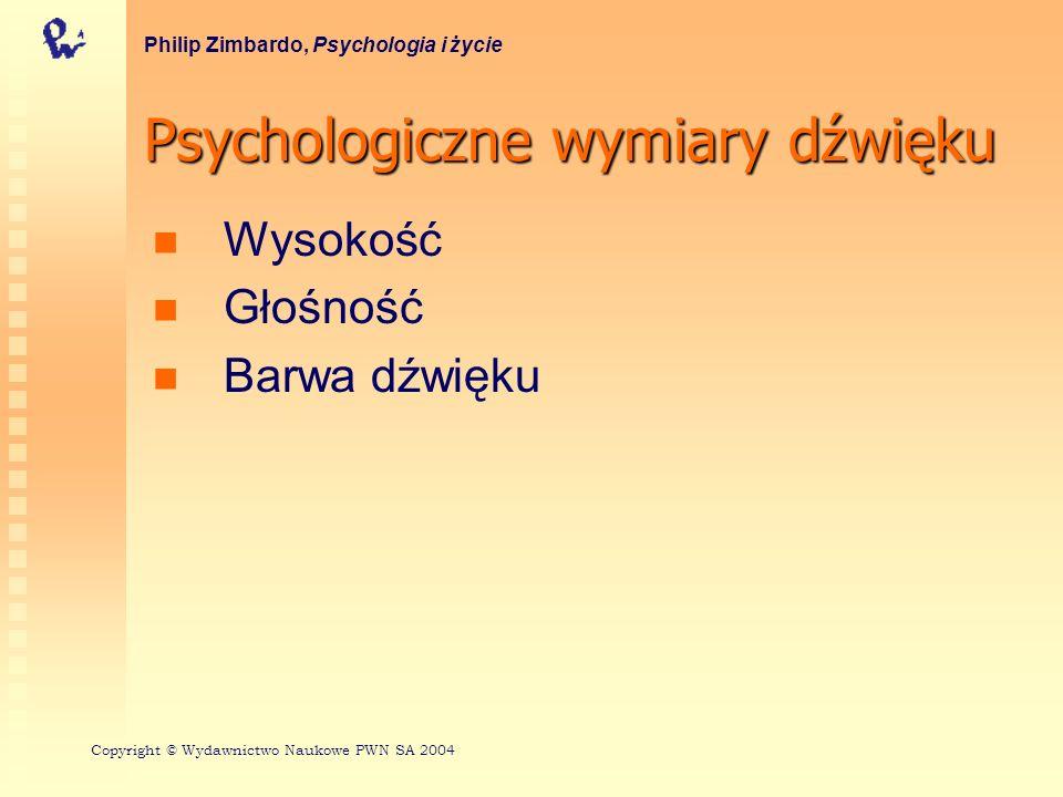 Psychologiczne wymiary dźwięku Wysokość Głośność Barwa dźwięku Philip Zimbardo, Psychologia i życie Copyright © Wydawnictwo Naukowe PWN SA 2004