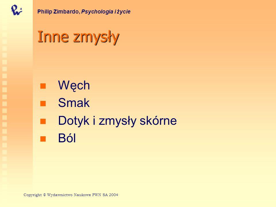 Inne zmysły Węch Smak Dotyk i zmysły skórne Ból Philip Zimbardo, Psychologia i życie Copyright © Wydawnictwo Naukowe PWN SA 2004
