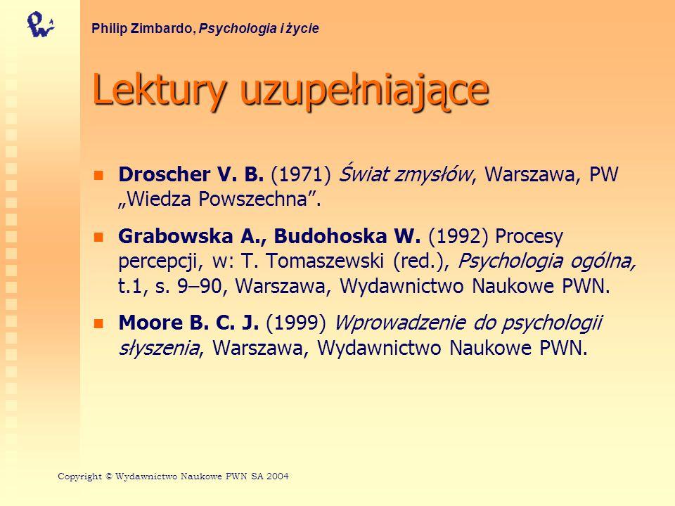 Lektury uzupełniające Droscher V. B. (1971) Świat zmysłów, Warszawa, PW Wiedza Powszechna. Grabowska A., Budohoska W. (1992) Procesy percepcji, w: T.
