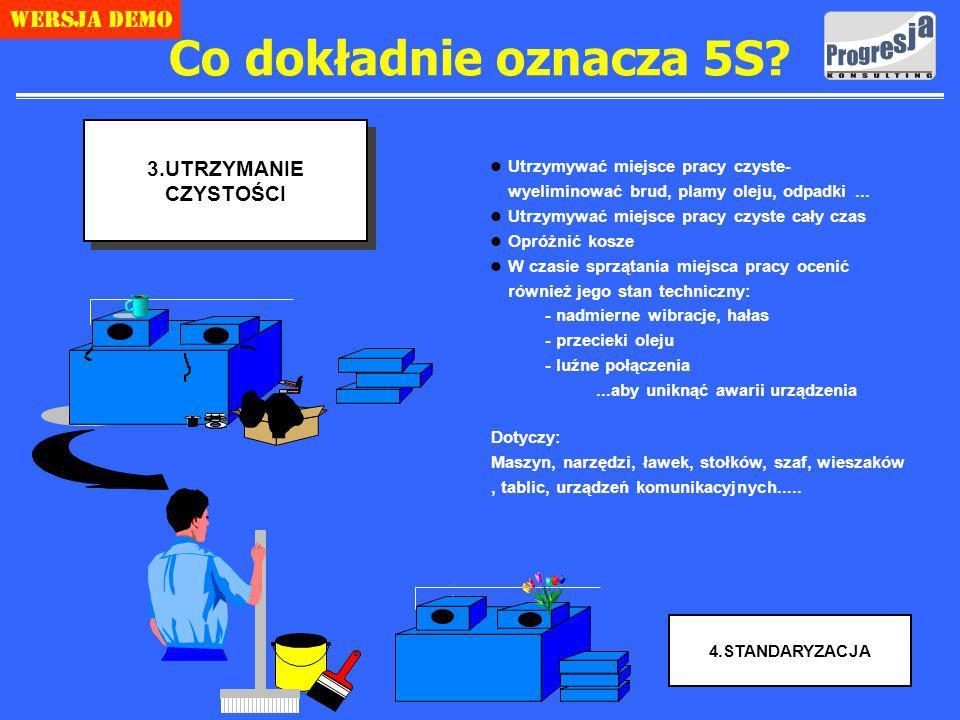 Copyright Progresja Konsulting 4 Wersja demo 3.UTRZYMANIE CZYSTOŚCI l Utrzymywać miejsce pracy czyste- wyeliminować brud, plamy oleju, odpadki...