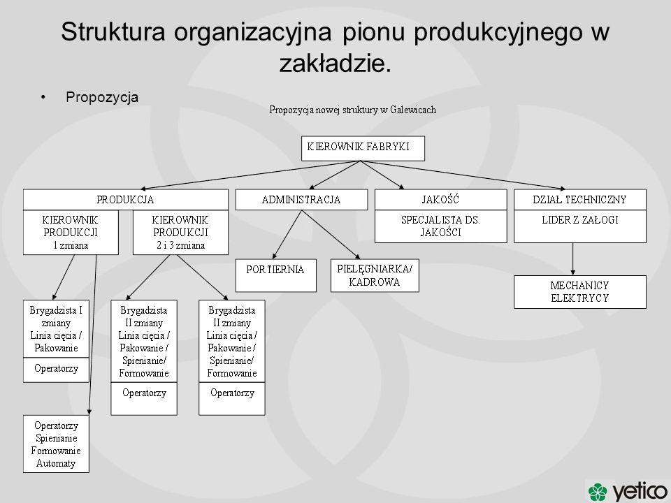 Struktura organizacyjna pionu produkcyjnego w zakładzie. Propozycja
