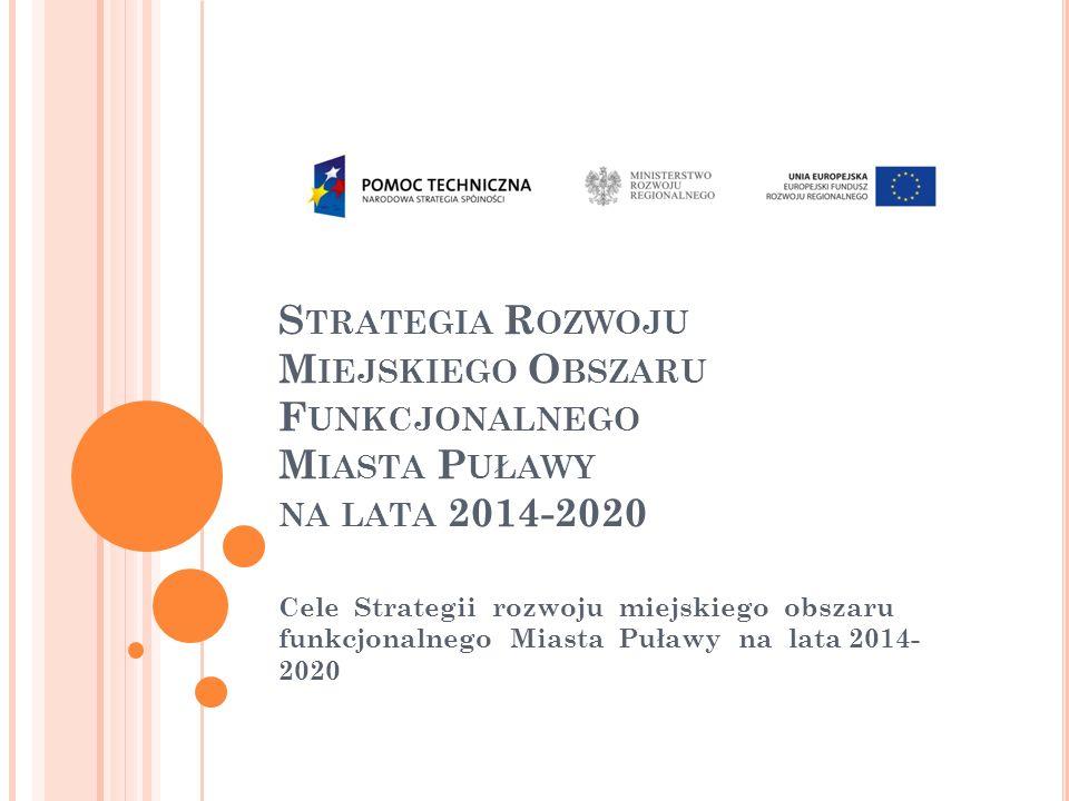 S TRATEGIA R OZWOJU M IEJSKIEGO O BSZARU F UNKCJONALNEGO M IASTA P UŁAWY NA LATA 2014-2020 Cele Strategii rozwoju miejskiego obszaru funkcjonalnego Miasta Puławy na lata 2014- 2020