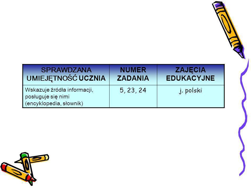 SPRAWDZANA UMIEJĘTNOŚĆ UCZNIA NUMER ZADANIA ZAJĘCIA EDUKACYJNE Wskazuje źródła informacji, posługuje się nimi (encyklopedia, słownik ) 5, 23, 24j. pol