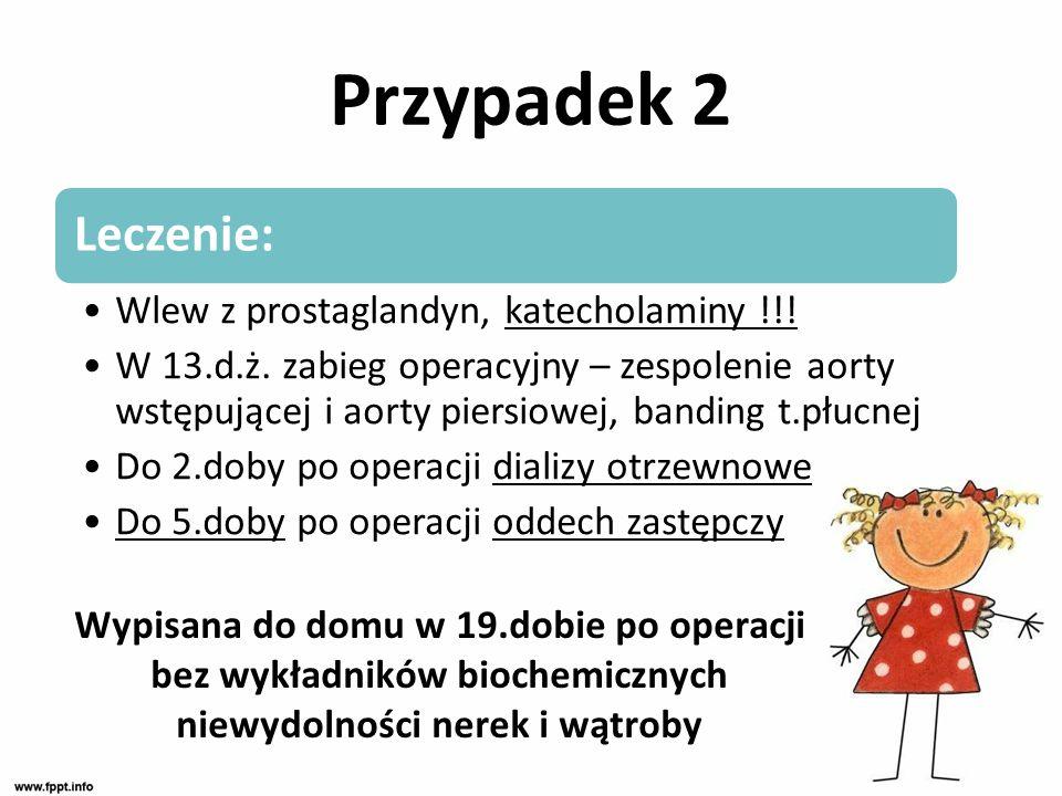 Przypadek 2 Leczenie: Wlew z prostaglandyn, katecholaminy !!! W 13.d.ż. zabieg operacyjny – zespolenie aorty wstępującej i aorty piersiowej, banding t
