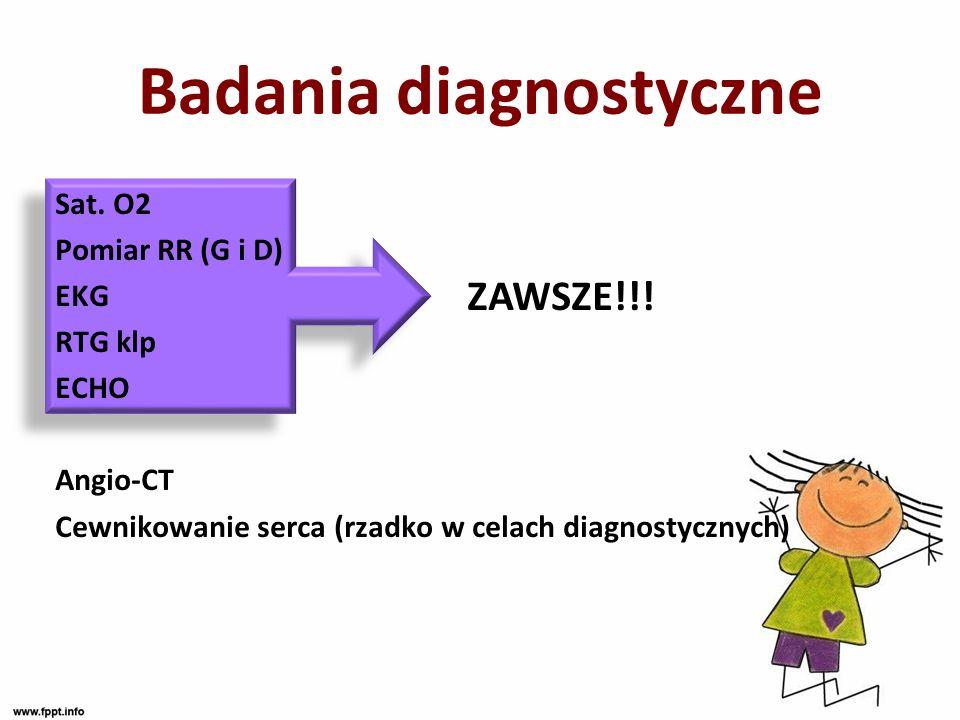 Badania diagnostyczne Sat. O2 Pomiar RR (G i D) EKG RTG klp ECHO Angio-CT Cewnikowanie serca (rzadko w celach diagnostycznych) ZAWSZE!!!