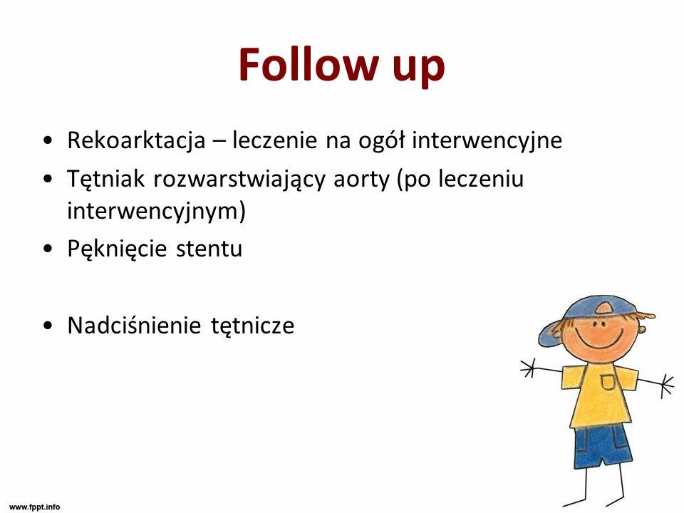 Follow up Rekoarktacja – leczenie na ogół interwencyjne Tętniak rozwarstwiający aorty (po leczeniu interwencyjnym) Pęknięcie stentu Nadciśnienie tętni
