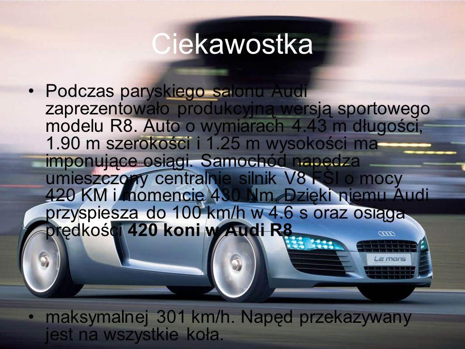 Ciekawostka Podczas paryskiego salonu Audi zaprezentowało produkcyjną wersją sportowego modelu R8. Auto o wymiarach 4.43 m długości, 1.90 m szerokości