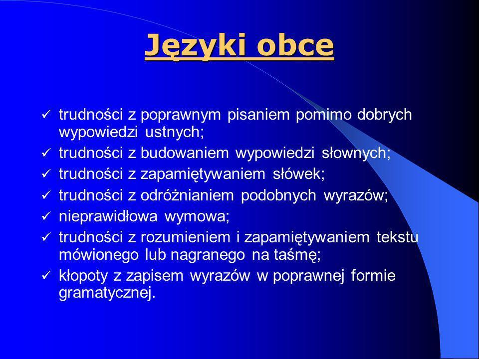 Język polski Czytanie: wolne tempo czytania (czasem jedyne objawy trudności w czytaniu); trudności ze zrozumieniem i zapamiętaniem czytanego tekstu; n