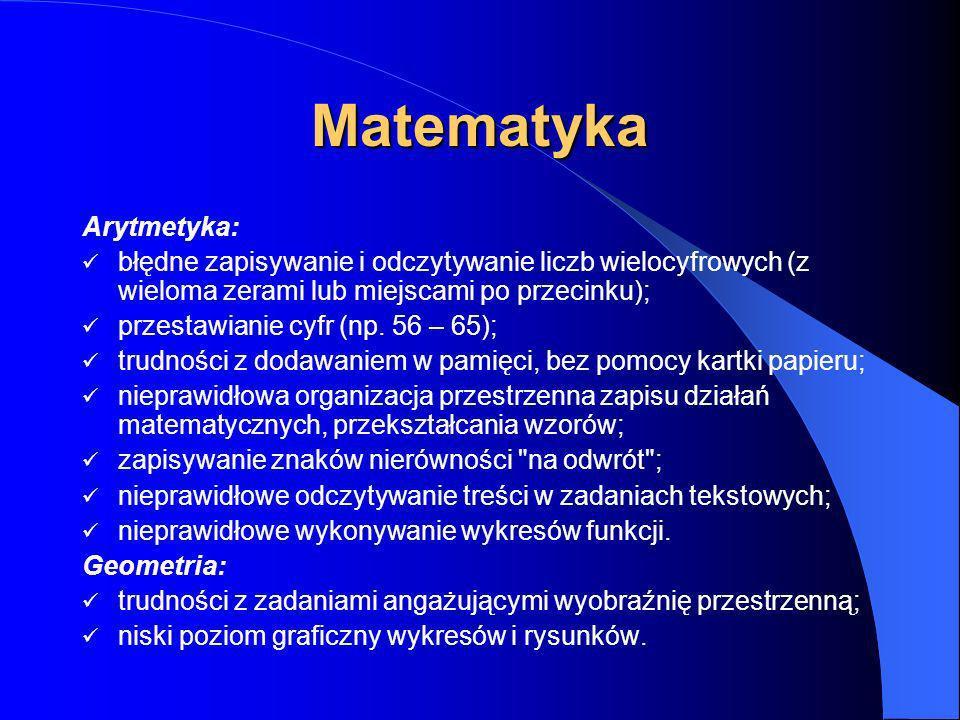 Języki obce trudności z poprawnym pisaniem pomimo dobrych wypowiedzi ustnych; trudności z budowaniem wypowiedzi słownych; trudności z zapamiętywaniem
