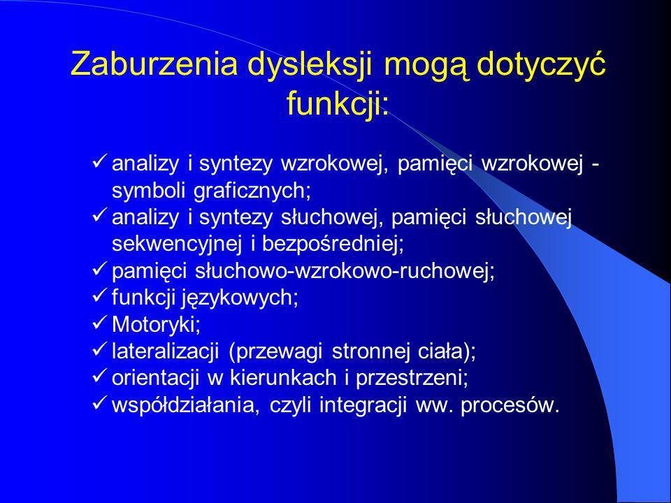 Zaburzenia dysleksji mogą dotyczyć funkcji: analizy i syntezy wzrokowej, pamięci wzrokowej - symboli graficznych; analizy i syntezy słuchowej, pamięci słuchowej sekwencyjnej i bezpośredniej; pamięci słuchowo-wzrokowo-ruchowej; funkcji językowych; Motoryki; lateralizacji (przewagi stronnej ciała); orientacji w kierunkach i przestrzeni; współdziałania, czyli integracji ww.