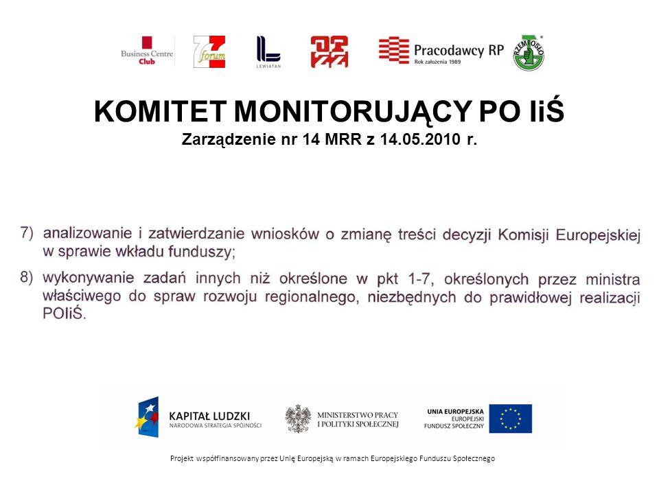 KOMITET MONITORUJĄCY PO IiŚ Zarządzenie nr 14 MRR z 14.05.2010 r. Projekt współfinansowany przez Unię Europejską w ramach Europejskiego Funduszu Społe