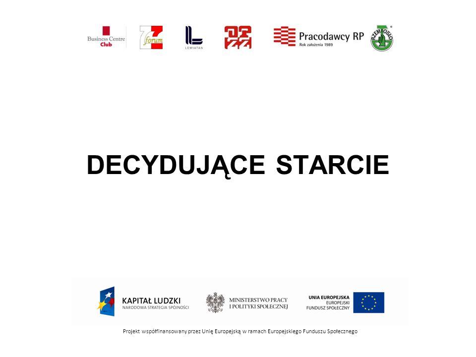 DECYDUJĄCE STARCIE Projekt współfinansowany przez Unię Europejską w ramach Europejskiego Funduszu Społecznego