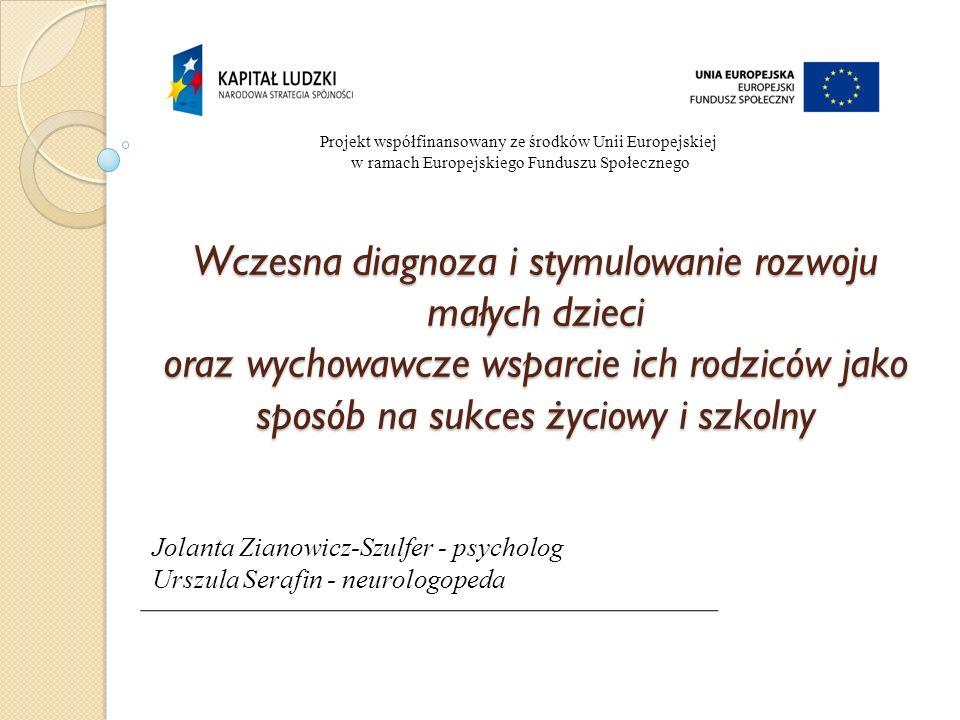 Projekt współfinansowany ze środków Unii Europejskiej w ramach Europejskiego Funduszu Społecznego Wczesna diagnoza i stymulowanie rozwoju małych dziec