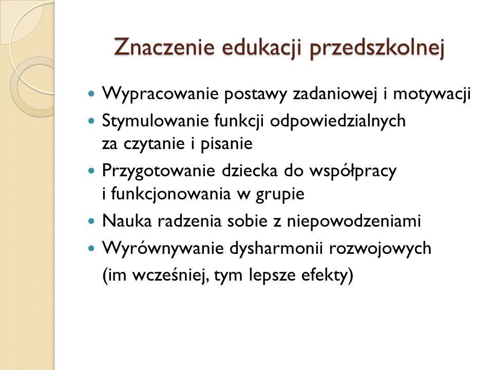 Znaczenie edukacji przedszkolnej Wypracowanie postawy zadaniowej i motywacji Stymulowanie funkcji odpowiedzialnych za czytanie i pisanie Przygotowanie