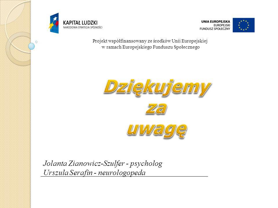 Projekt współfinansowany ze środków Unii Europejskiej w ramach Europejskiego Funduszu Społecznego Jolanta Zianowicz-Szulfer - psycholog Urszula Serafi