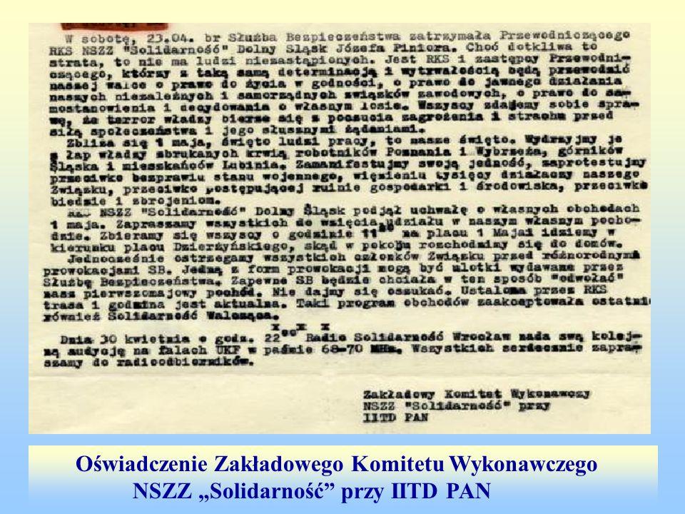 Oświadczenie Zakładowego Komitetu Wykonawczego NSZZ Solidarność przy IITD PAN