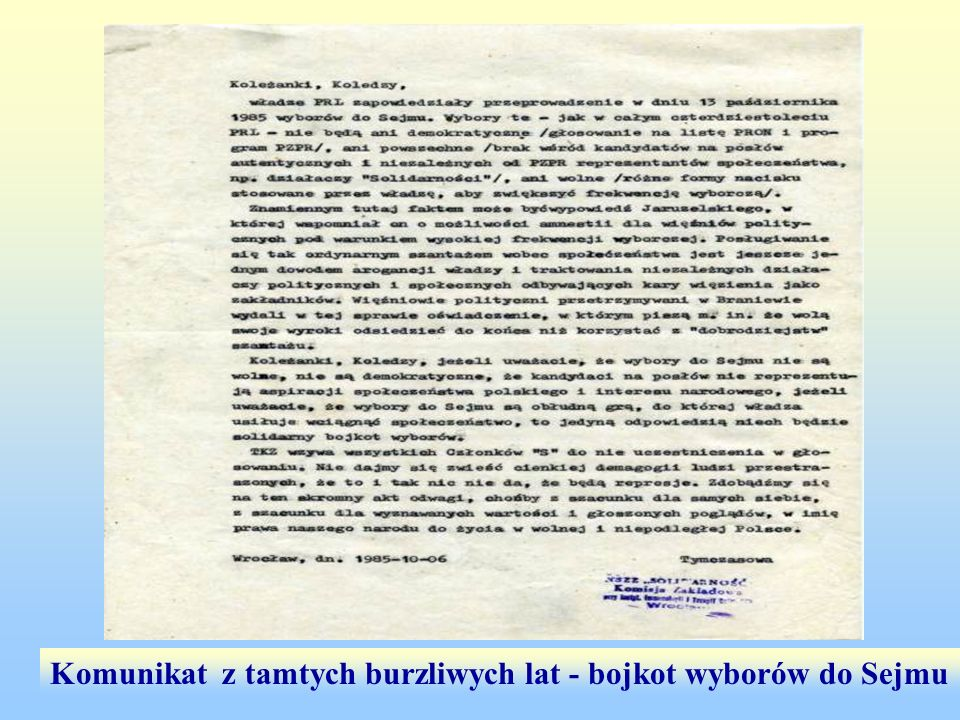 Komunikat z tamtych burzliwych lat - bojkot wyborów do Sejmu